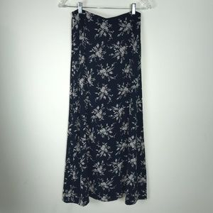 Liz Claiborne Classics Skirt Long Floral Navy Blue